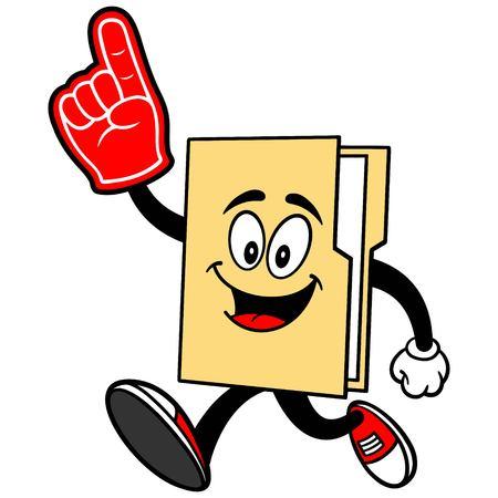 Folder Mascot Running with Foam Finger