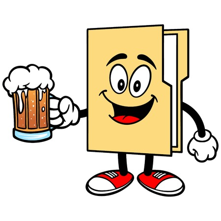 Folder Mascot with Beer