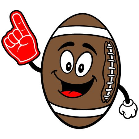 Football Mascot met Foam Finger Stock Illustratie