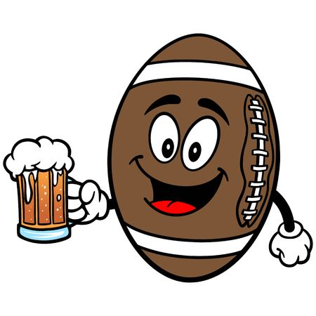 Football Mascot with Beer 向量圖像