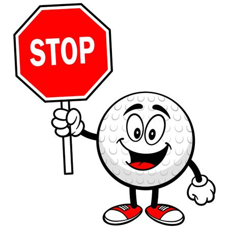 Golf Ball with Stop Sign