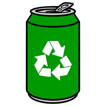 Green Aluminum Can with a Recycle Symbol Illusztráció