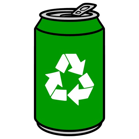 Green Aluminum Can with a Recycle Symbol Illustration