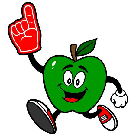 Green Apple Running with a Foam Finger Stok Fotoğraf - 57535270