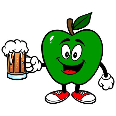 pint glass: Green Apple with a Beer Illustration