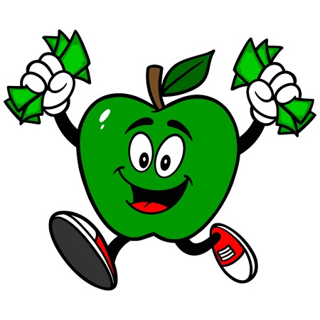 Green Apple Running with Money