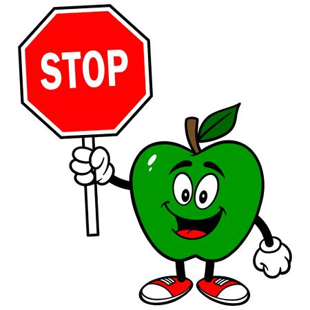 Green Apple with a Stop Sign