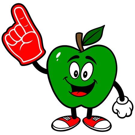 foam finger: Green Apple with a Foam Finger