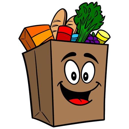 Grocery Bag Mascot Illustration
