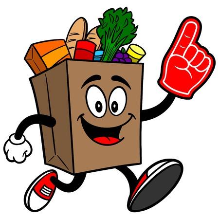 식기 가방과 함께 실행하는 식료품 가방