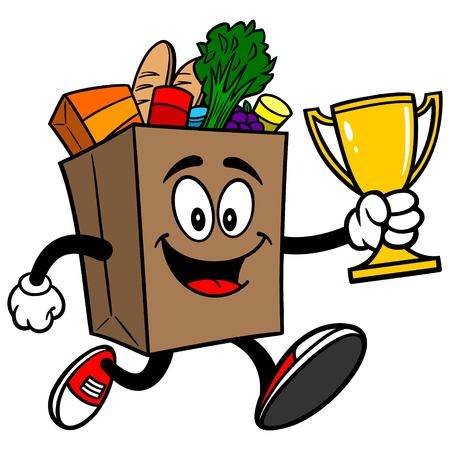 grocery bag: Grocery Bag Running with Trophy