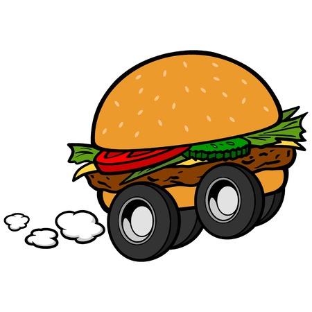 Hamburger Delivery Stock Vector - 57535380