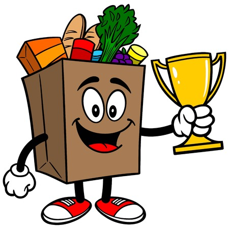 Grocery Bag with Trophy