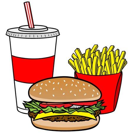 combo: Hamburger Combo Illustration