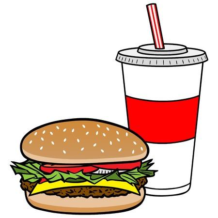 poor diet: Hamburger and Drink Illustration