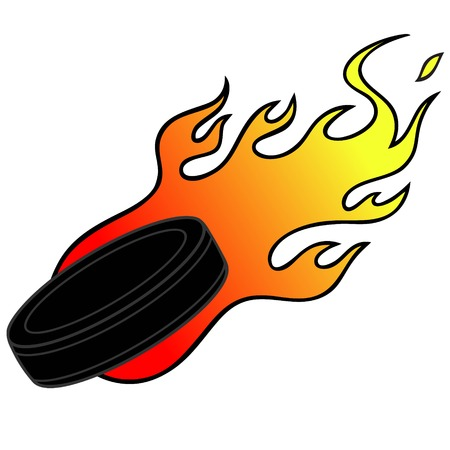 fireballs: Hockey Puck with Flames Illustration