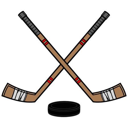 Eishockeyschläger und Puck Standard-Bild - 57536055