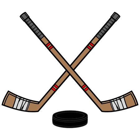 Hockey Sticks and Puck Stock Vector - 57536055