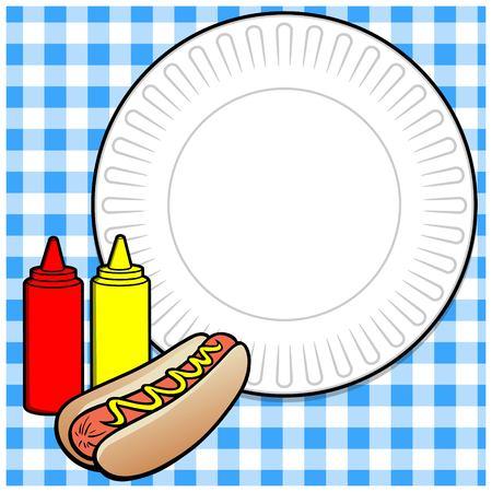 ot Dog Cookout Menu Illustration