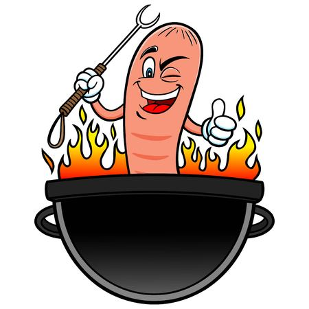 hot dog: Hot Dog Grilling Party Illustration
