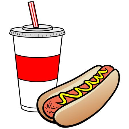 poor diet: Hot Dog and Drink Illustration
