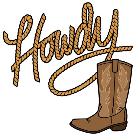 Howdy Cowboy Rope and Boot Vectores