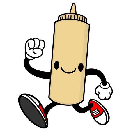 spicy mascot: Japanese Mayo Running Illustration