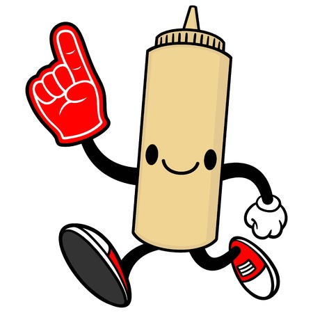 spicy mascot: Japanese Mayo Running with a Foam Finger