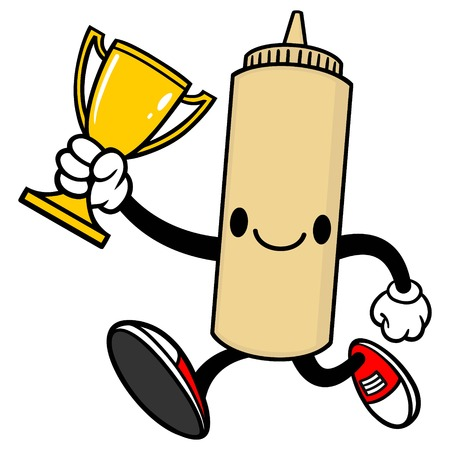 spicy mascot: Japanese Mayo Running with a Trophy