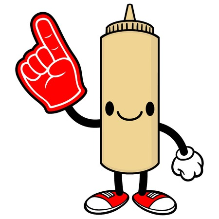 spicy mascot: Japanese Mayo with a Foam Finger Illustration