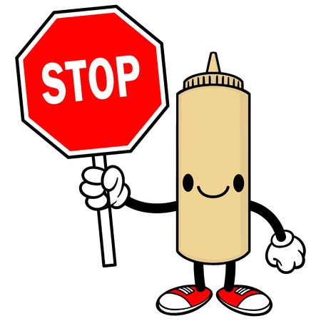 spicy mascot: Japanese Mayo with a Stop Sign