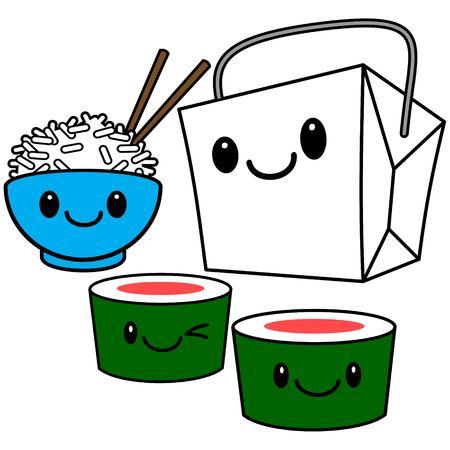 chinese takeout box: Kawaii Chinese Food Illustration