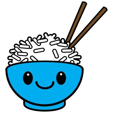 Kawaii Rice Bowl Stock Vector - 57677809