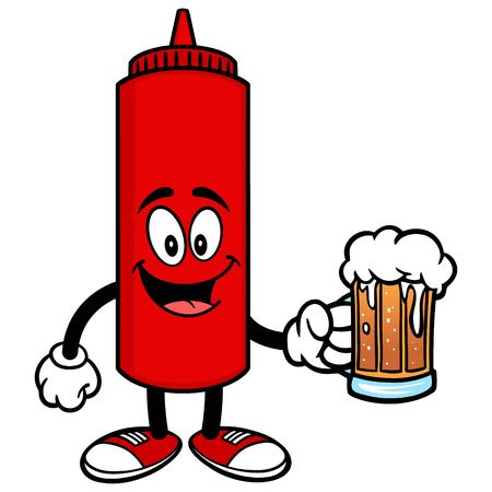 catsup bottle: Ketchup with a Beer Illustration