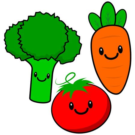kawaii: Kawaii Veggies Illustration