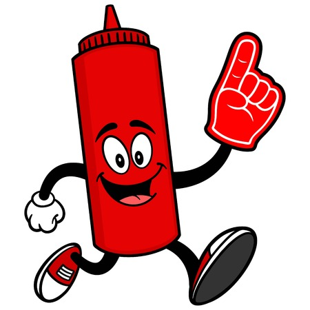 Ketchup Running with a Foam Finger