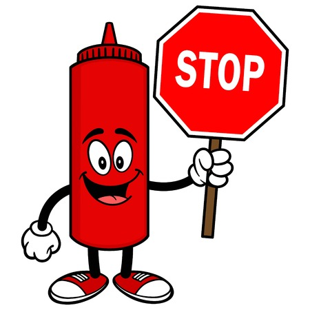 tomato catsup: Ketchup with a Stop Sign Illustration