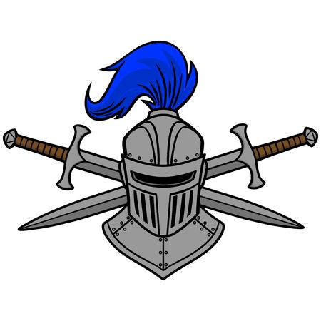 caballero medieval: Knight Casco y espadas cruzadas