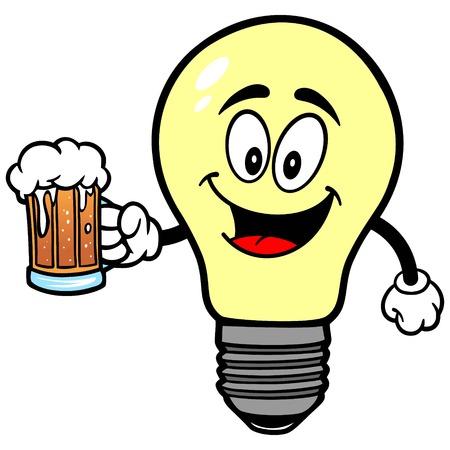 luminance: Light Bulb with Beer Illustration