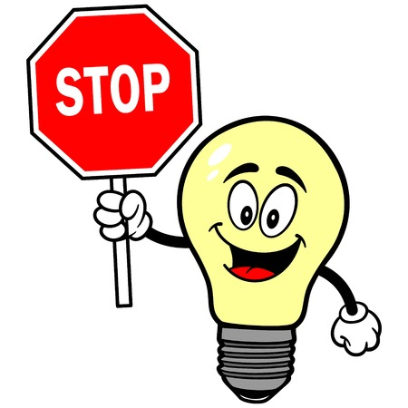 luminance: Light Bulb with Stop Sign Illustration