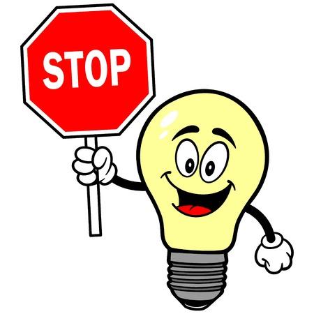 luminance: Light Bulb with Stop Sign Illustration