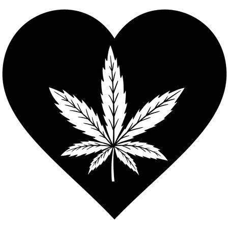 substance abuse: Marijuana Heart Illustration