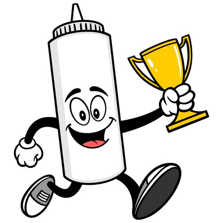 mayonnaise: Mayonnaise Running with a Trophy Illustration