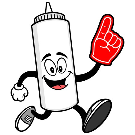 Mayonnaise Running with a Foam Finger