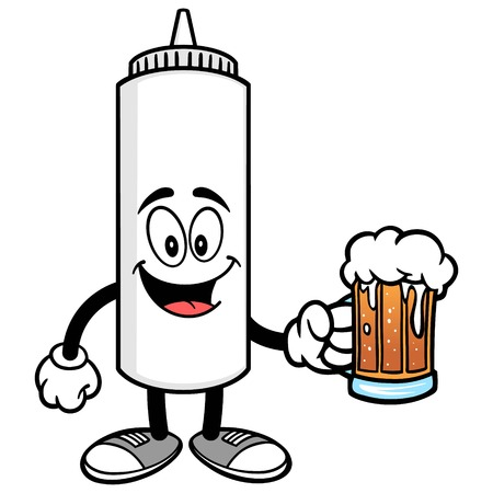 mayonnaise: Mayonnaise with a Beer Illustration
