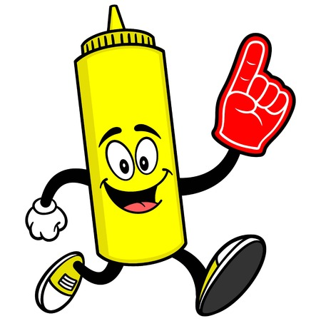 foam finger: Mustard Running with a Foam Finger