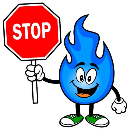 Natural Gas with a Stop Sign Иллюстрация