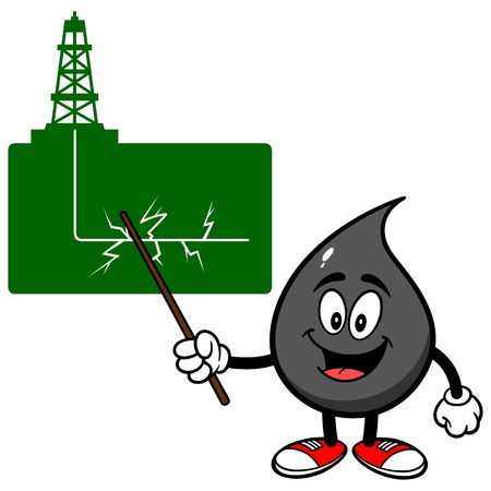 gusher: Oil Drop talking about Fracking Illustration