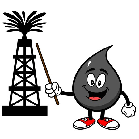 gusher: Oil Drop explaining Oil Process Illustration