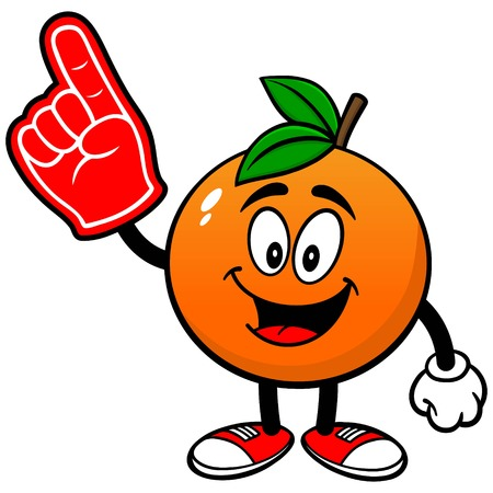 거품 손가락이있는 오렌지색